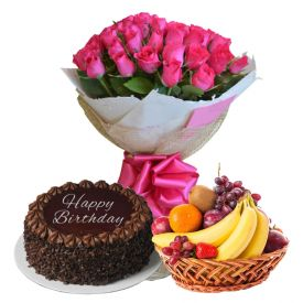 Red Roses with cake and fruits