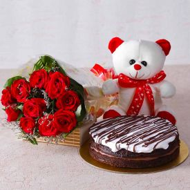 10 Pink Roses, 1/2 chocolate Cake with small teddy