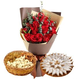 10 Red and 10 Yellow Roses, Half Kg Mixed Dry Fruits and Half kg Kaju Katli