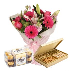 Assorted Dryfruits and Rocher Chocolates with Seasonal Flowers Bunch