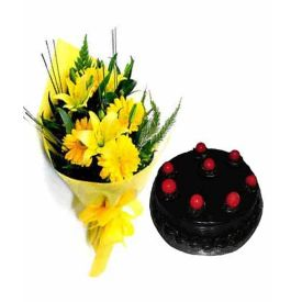 Yellow flowers With Truffle Cake.