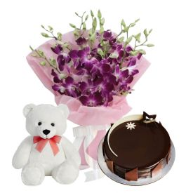 A bunch of 12 white orchid 1/2 kg chocolate truffle cake and (12-inch-teddy bear).