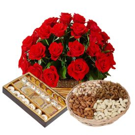 Basket of 25 red roses, 1 kg mixed sweet and 1/2 kg dry fruits