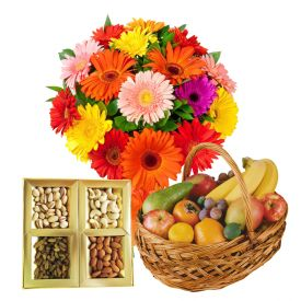 3 kg fresh fruits, 1/2 kg dry fruits and 12 mixed gerberas.