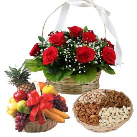 1/2 kg dry frits, 20 red roses basket and 2kg mixed fruits.