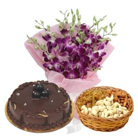 a bunch of 10 purple orchids, 1 kg ,dry fruits and 1/2 kg chocolate cake.