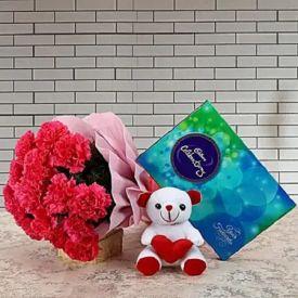 Lovely Carnation, teddy with celebration