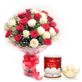 Bunch of 20 Red and White Roses with 1 Kg Haldiram Rasgulla