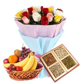 12 Mixed Roses,2 Kg Mixed Fruits and 1/2 Kg Dry fruits