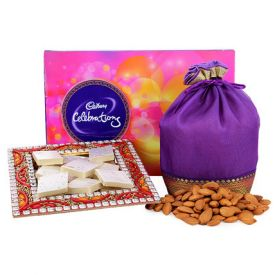 Bunch of 10 red roses, 250 grams of soan papdi and 500 grams of dry fruits