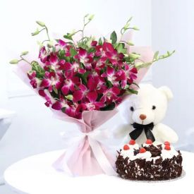 Purple orchids, chocolate cake and Teddy