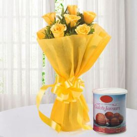 Yellow Roses and Mixed Sweets