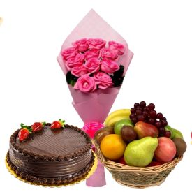 12 Pink Flowers with 1/2 Kg Chocolate Cake and 3 Kg mixed Fruits