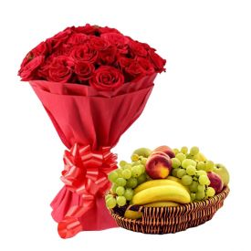 Pink Roses With Mixed Fruits with Basket