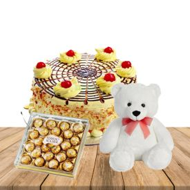 brown colour teddybear,24 pcs rocher ferrero