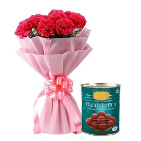 Bunch of 10 Red Carnation and 1 Kg Haldiram Gulab Jamun