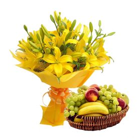 Mixed lilies With Mixed Fruits with basket.