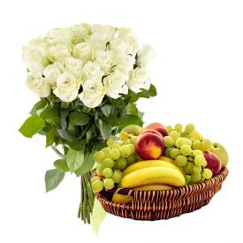10 White Roses and 2 Kg Mixed Fruits with Basket.