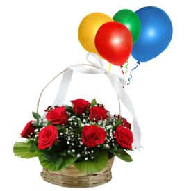 Basket of Red Roses N Balloons