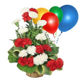 Pink N Red Carnation with Balloons