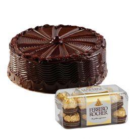 Chocolate cake and ferrero rocher