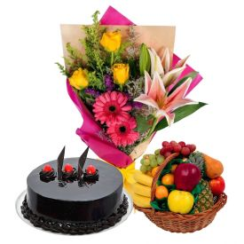 1 Kg Chocolate Cake With 2 Kg Mixed Fruits and 12 Mixed Flowers