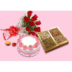 Cake, Dry Fruits and Flowers