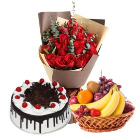 Bunch of 10 Red Roses and 2 kg fruits in Basket and 1 Kg Black forest cake