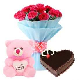 A bunch of 15 white, or pink carnation 1/2 kg chocolate cake and (12 inch lovely pink teddy bear)