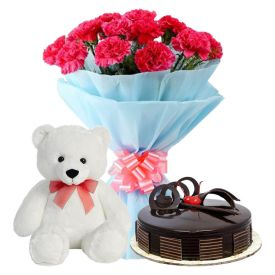 A bunch of 20 pink carnation 1 kg chocolate cake and (6-inch-white teddy bear)