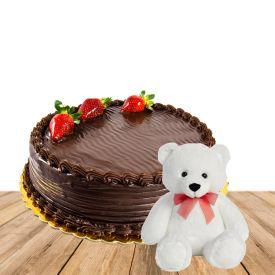 1/2 kg Chocolate Truffle Cake With 6 inch Teddy Bear