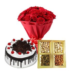 10 Red Roses, 1/2 Kg Dry fruits and 1/2 Kg Black Forest cake