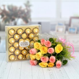 10 red roses and 24 ps Ferrero Rocher