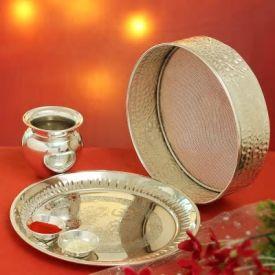 Silver Plated Karwa Chauth Thali Set