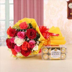 12 mixes roses and 16Ferrero Rocher