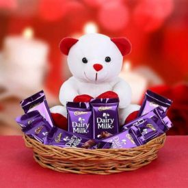 Cute Basket of Dairy Milk