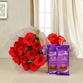 10 Red rose with 2 dairy milk silk