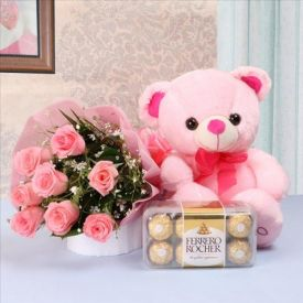 18 Red Roses with Teddy & 16 Pcs Ferrero Rocher