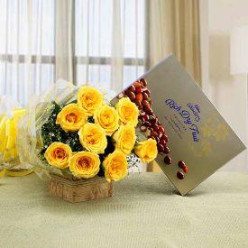 10 Yellow Rose and 1 Cadbury Celebrations Rich Dry...