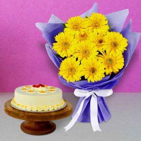 Yellow Gerbera with Chocolate cake N Ferrero Rocher