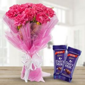 Mixed carnation with Chocolate cake