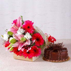 Yellow Flowers With Chocolates Cake