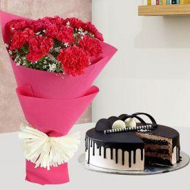 1 Kg chocolate truffle cake, 4 toblerone chocolate and 12 inch pink teddy bear