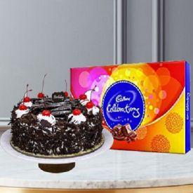 Black forest cake with celebration.