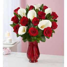 Red roses & white lilies with vase