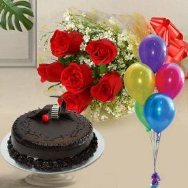 Mixed gerberas ,chocolate cake and ballooons