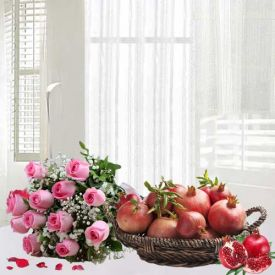 Bunch of 20 Red Roses and 2 Kg Pomegranates with Basket.