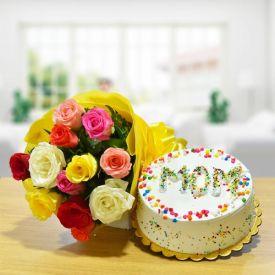 Cake For Mom N Roses