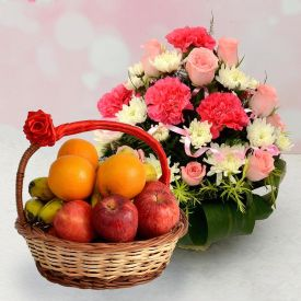 10 Red and Yellow Roses and 2 Kg Mixed Fruits with Basket.