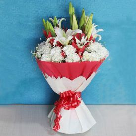Bunch of white lilies and Red Carnation